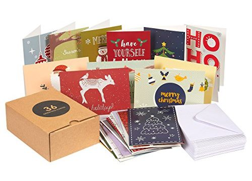 Assorted Winter Holiday Xmas Greeting Cards in 36 Special Designs, Envelopes Included, 4 x 6 Inches – 36-Pack Merry Christmas Holiday Greeting Cards Bulk Box Set