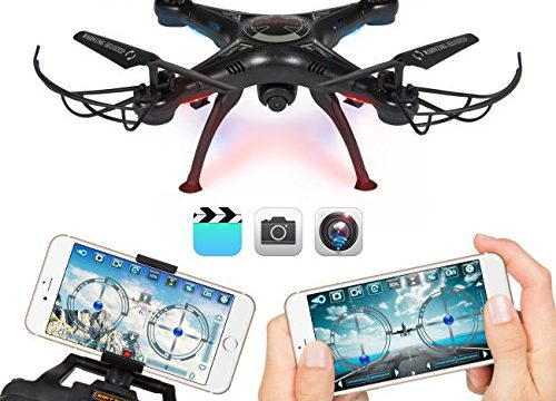 Best Choice Products 4-Channel 2.4G 6-Axis Gyro RC Headless Quadcopter Drone w/ 2MP WiFi Camera, Real Time Video, App Control – Black