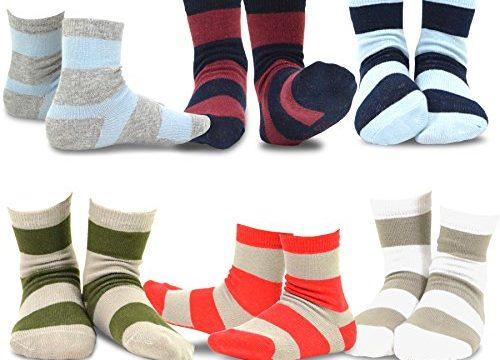 Naartjie Boys Short Cotton Crew Socks Rugby Stripe 6 Pair Pack 3-5Y