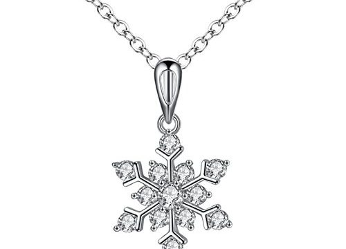 Snowflake Pendant Necklace Sterling Silver Plated for Women Girl Zircon Crystal Jewelry Gifts