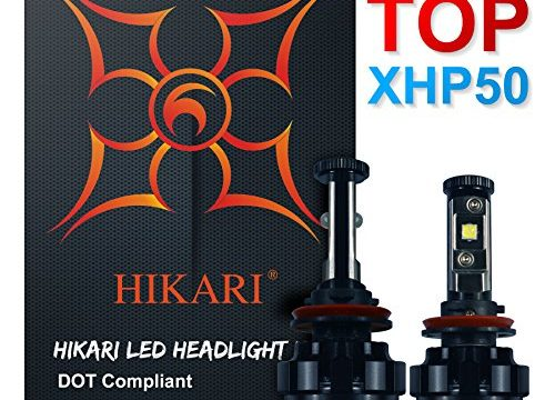 HIKARI LED Headlight Bulbs Conversion Kit -H11H8,H9,CREE XHP50 9600lm 6K Cool White,2 Yr Warranty