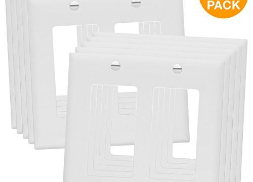 ENERLITES Decorator Light Switch/Receptacle Outlet Wall Plate, Standard Size 2-Gang, Polycarbonate Thermoplastic,White 10 Pack 8832-W-10PC