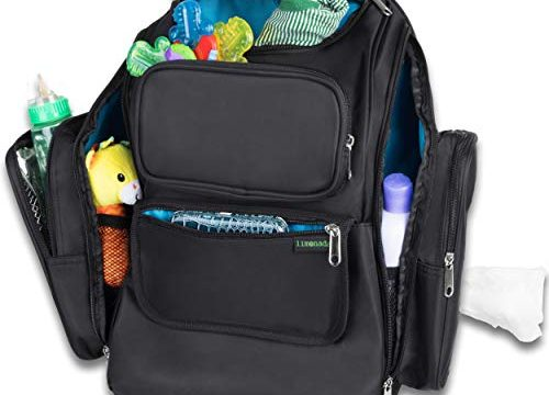 Unisex. Black – Large Diaper Bag with Insulated Pockets – Changing Pad and Wipes Dispenser – Washable – Durable – Baby Diaper Backpack by MyLimonada