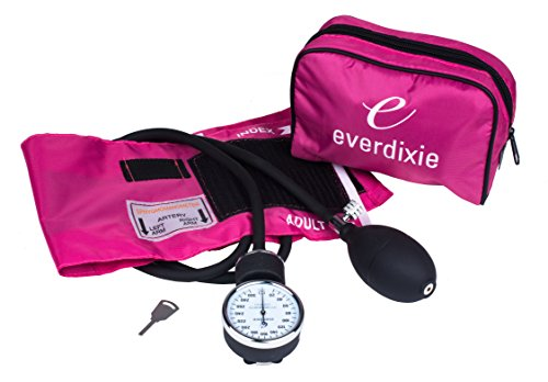 Dixie Ems pink deluxe aneroid sphygmomanometer blood pressure set with adult cuff, nylon pink carrying case and calibration key