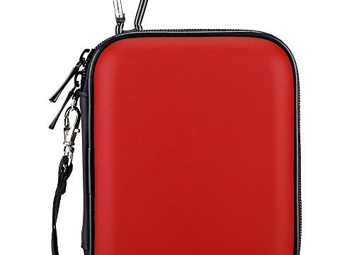Lacdo Waterproof Hard EVA Shockproof Pouch Case 2.5-Inch Hard Drive, Red