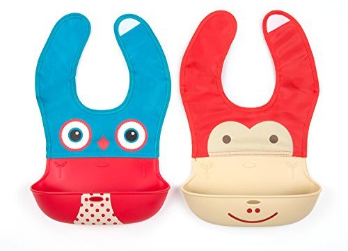 Waterproof Silicone Velcro Baby Bibs, Baby Feeding Easily, Comfortable and Soft Bib for Baby and Toddlers, Less Time To Clean After Meals, Set of 2 Pack