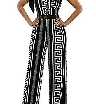 Pink Queen Womens Summer Elegant Sleeveless Loose Long Belted Jumpsuits Rompers, Black Geometric ,X-Large