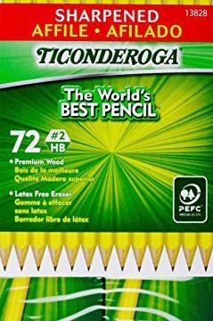 Ticonderoga Sharpened Pencils #2 HB Premium Wood Latex-Free Eraser, 72 Pencils