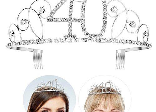 Frcolor Happy Birthday 40th Silver Crystal Tiara Crown