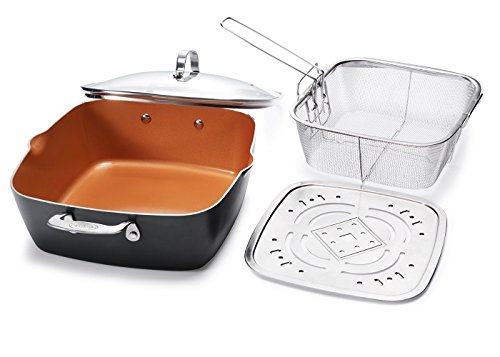 XL 11″ Copper Deep Square All in One 6 Qt Casserole Chef's Pan- 4 Piece Set – Gotham Steel 1492