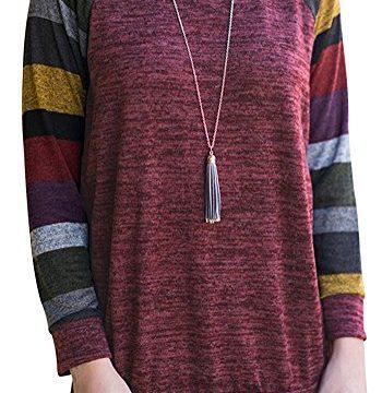 AUSELILY Women's Cotton Knitted Long Sleeve Lightweight Tunic Sweatshirt Tops US2-4, Purple Red
