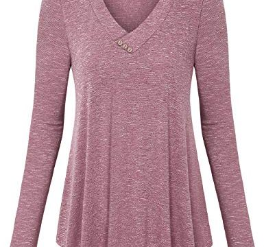 Vinmatto Women's Long Sleeve V Neck Flowy Tunic Top