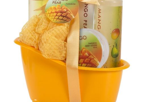 Bath and Body Spa Skincare Gift Set for Women Exotic Tangy Mango Pear Fragrance, Bath & Shower Set Includes Body Lotion, Bath Salts, Shower Gel, Bubble Bath Holiday Beauty Gift Basket