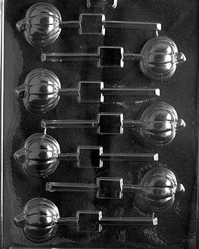 Cybrtrayd T009 Pumpkin Lolly Life of the Party Chocolate Candy Mold with Exclusive Cybrtrayd Copyrighted Chocolate Molding Instructions