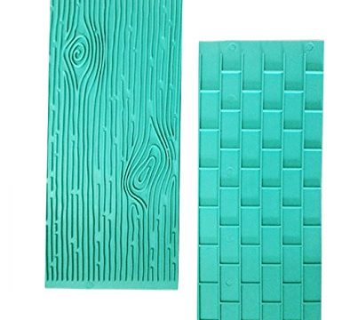 Mikiso 1202 Texture 2-Piece Mold Set Tree Bark and Brick Wall Impression Moulds Gum Paste Impression Mat Fondant Cake Decorating Supplies for Cupcake Wedding Cake DecorationBlue