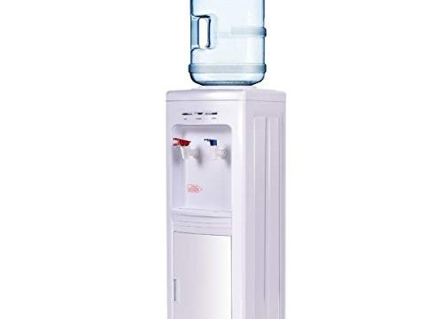 Giantex Top Loading Water Cooler Dispenser 5 Gallon Normal Temperature Water And Hot Bottle Load Electric Primo Home White with Storage Cabinet