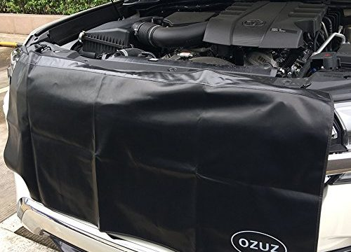 OZUZ Premium 53″ X 23.5″ 6ct Black Magnetic and 3ct Hooks Fender Cover Protector Gripper Automotive Mechanic Work Mat with Heavy Duty Pvc Material