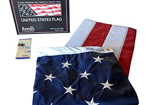Annin Flagmakers Model 2270 American Flag 5×8 ft. Nylon SolarGuard Nyl-Glo , 100% Made in USA with Sewn Stripes, Embroidered Stars and Brass Grommets.