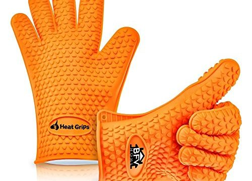 Heat Resistant Silicone BBQ Oven and Grill Gloves with 444 Page Grilling Recipes Ebook
