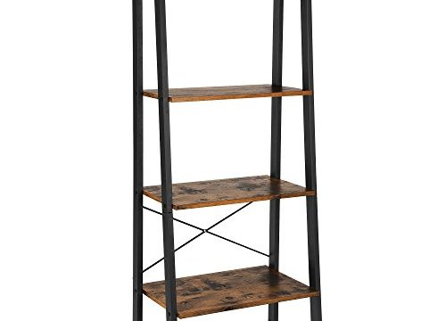 VASAGLE Vintage Ladder Shelf, 4-Tier Bookshelf, Storage Rack Shelf Unit, Bathroom, Living Room, Wood Look Accent Furniture Metal Frame ULLS44X