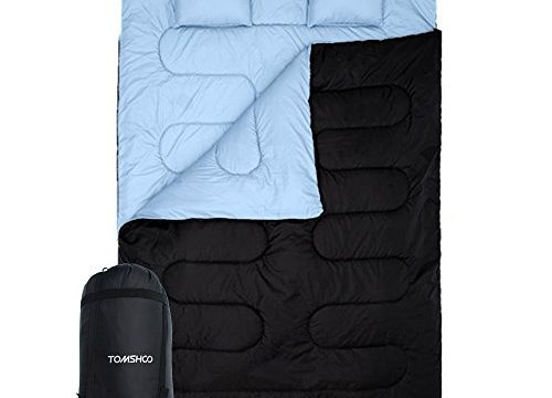 TOMSHOO Double Sleeping Bag 2 Person Outdoor Camping Hiking Sleeping Bag Thin with 2 Pillows for Summer and Fall
