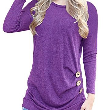 Fantastic Zone Womens Casual Long Sleeve Buttons Round Neck Shirt Tunic Tops,Purple,Large