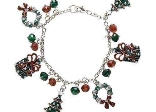 Christmas Jewelry Ladies Lead Free Holiday Charm Bracelet with Dangling Wreaths