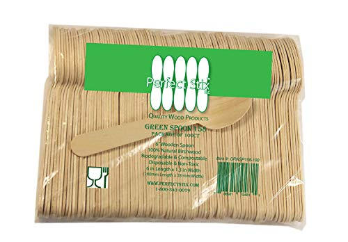 Perfect Stix Wooden Disposable Spoons 6″ Length pack of 100