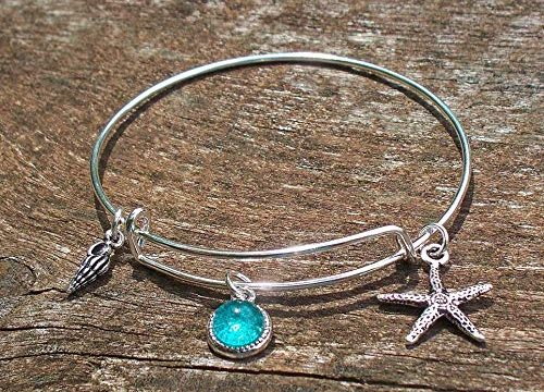 Recycled Vintage Mason Jar Adjustable Wire Beach Bangle Bracelet