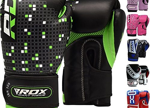 RDX Maya Hide Leather 4oz Kids Boxing Gloves Junior Punch Bag Children MMA Training Youth Muay Thai Mitts,Green