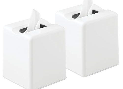 mDesign Square Facial Tissue Box Cover Holder for Bathroom Vanity Counter Tops, Bedroom Dressers, Night Stands, Desks and Tables – Pack of 2, White
