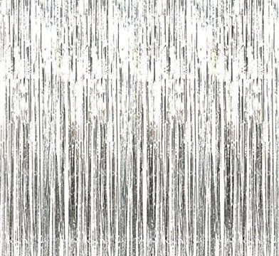 Kangaroo Metallic Silver Foil Fringe Curtains 1 PC36 x 96 inches3 ft x 8 ft