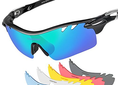 Tsafrer Polarized Sunglasses Mens Sunglasses 2 Pairs Sports Sunglasses with 4 Interchangeable Lenses, Tr90 Unbreakable Sunglasses for Men Women Cycling Golf Outdoor Sunglasses