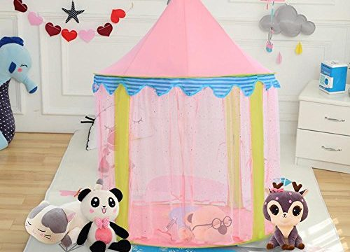 Kids Play Tent, Ejoyous Princess Castle Play Tent for Girls Indoor and Outdoor, Pink Play House Foldable with Led Star Lights 40inx 55in