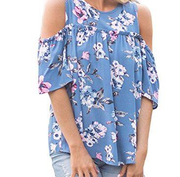 Asvivid Women's Summer Cold Shoulder Floral Print Ruffles Short Sleeve Blouse Tops Large Blue