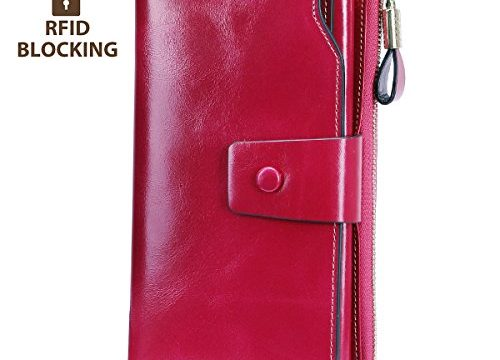 Itslife RFID Blocking Women's Large Capacity Luxury Wax Genuine Leather Cluth Wallet Card Holder Ladies Purse Rose RFID Blocking
