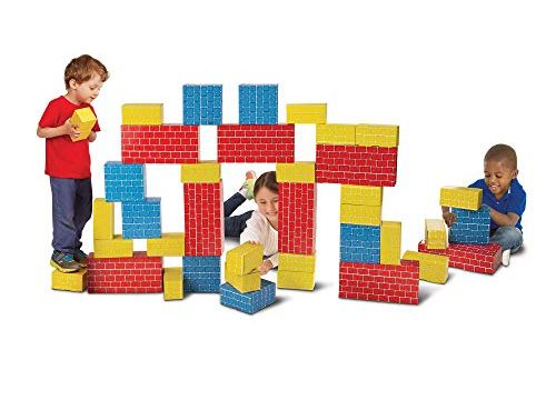 40 Blocks in 3 Sizes – Melissa & Doug Jumbo Extra-Thick Cardboard Building Blocks