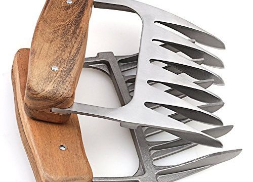 Metal Meat Claws, 1Easylife 18/8 Stainless Steel Meat Forks with Wooden Handle, Best Meat Claws for Shredding, Pulling, Handing, Lifting & Serving Pork, Turkey, Chicken, Brisket 2 Pcs,BPA Free