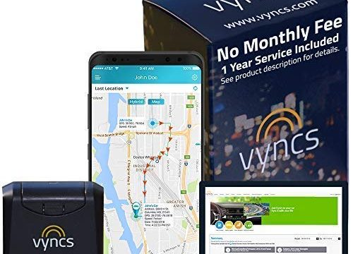 GPS Tracker Vyncs No Monthly Fee OBD, Real Time 3G Car GPS Tracking Trips Free 1 Year Data Plan Teen Unsafe Driving Alert Engine Data Fleet Monitoring Fuel Report Optional Roadside Black, 2.56