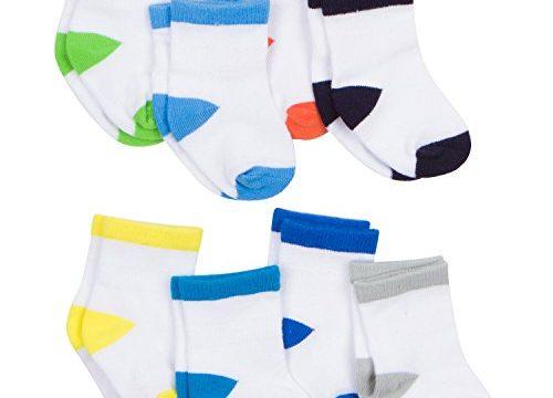 Gerber Baby 8 Pack Snug-fit Crew Sock, Color Block, 6-12 Months