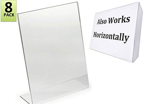 8.5 x 11-Inches Slant Back Acrylic Sign Holder Ad Frame, Clear 8 Pack