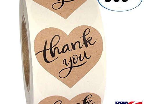 1.5″ Heart Shape Kraft Paper Thank You Adhesive Label, 500 Stickers per Roll, Love Shape, 1-1/2 Inch