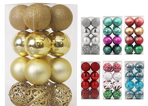 Valery Madelyn 16ct 80mm Essential Gold Shatterproof Christmas Ball Ornaments Decoration,16 Pcs Metal Hooks Included,Themed with Tree SkirtNot Included