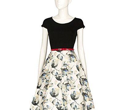 Adamaris Women's 50S 60S Vintage Floral Scoop Neck High Waist A-Line Casual Dress