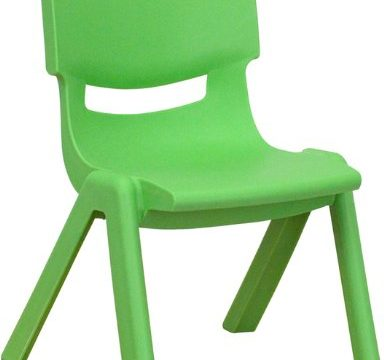 "Flash Furniture Green Plastic Stackable School Chair with 10.5"" Seat Height"