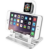 Desktop iPhone Charging Stand 2 in 1, Charging Station Holder for iPhone 8x 7 6s Plus Apple iWatch Series 1/Series 238mm 42mm iPad, Charging Dock for Smartphone Tablet and e-Readers Up to 12 inch