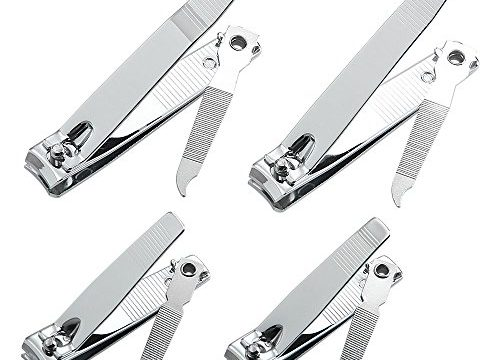 4 Pcs Professional Stainless Steel Toenail Clipper and Fingernails by QLL – Wide Easy Press Lever – Best Quality Nail Cutter – Swing Out Nail Cleaner/File – Sharpest Stainless Steel Clipper