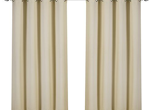 8 Grommets per Panel – Utopia Bedding Blackout Room Darkening and Thermal Insulating Window Curtains/Panels/Drapes – 2 Panels Set – 2 Tie Backs Included Beige, 52 x 63 with Grommets