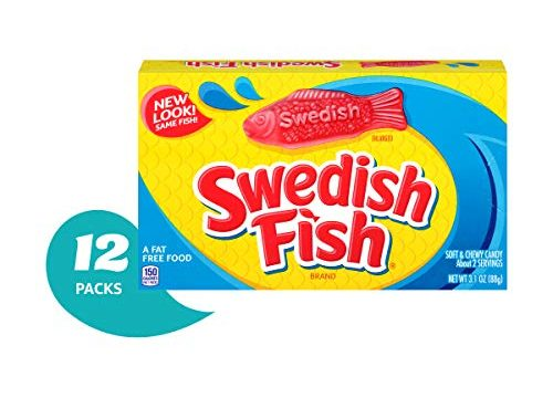 Swedish Fish Gummy Candy, Original, Theater Size Boxes, 3.1 oz Pack of 12