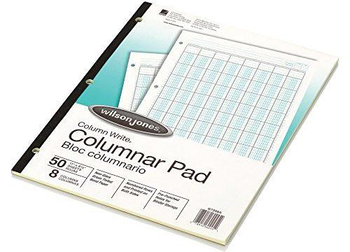 Wilson Jones Columnar Pad, ColumnWrite, 8-1/2″ x 11″, 8 Columns, 50 Sheets per Pad WG7208A